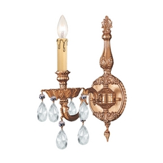 Crystorama Lighting Crystal Sconce Wall Light in Olde Brass Finish 2501-OB-CL-S