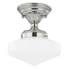 8-Inch Retro Style Schoolhouse Ceiling Light in Polished Nickel Finish