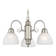 Design Classics Lighting Mini-Chandelier with Alabaster Glass in Satin Nickel Finish 708-09 GL1033-ALB