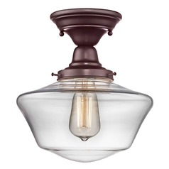 10-Inch Clear Glass Schoolhouse Semi-Flushmount Light in Bronze Finish