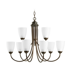 Progress Lighting Progress Chandelier with White Glass in Antique Bronze Finish P4627-20