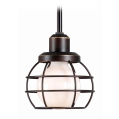 Kenroy Home Caged Oil Rubbed Bronze Mini-Pendant Light with Globe Shade