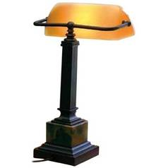Piano / Banker Lamp with Amber Glass in Mahogany Bronze Finish