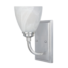 Sconce Wall Light with Alabaster Glass in Satin Platinum Finish