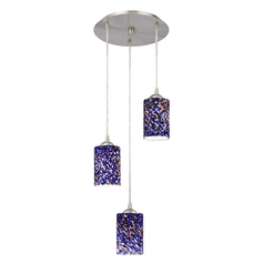 Design Classics Lighting Modern Multi-Light Pendant Light with Blue Glass and 3-Lights 583-09 GL1009C