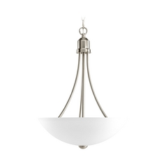 Progress Lighting Progress Pendant Light with White Glass in Brushed Nickel Finish P3914-09EBWB