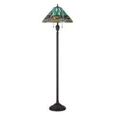 Floor Lamp with Multi-Color Glass in Vintage Bronze Finish