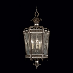 Fine Art Lamps Villa Vista Hand Painted Driftwood with Silver Leafed Accents Pendant Light with Hexa