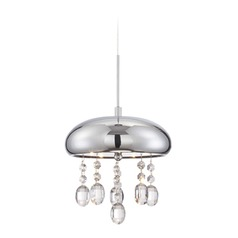 Lite Source Andrea Chrome LED Mini-Pendant Light with Bowl / Dome Shade
