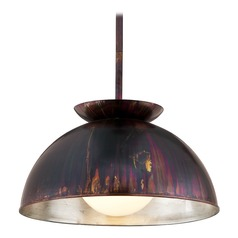 Troy Lighting Library Copper Patina Exterior Pendant Light with Bowl / Dome Shade