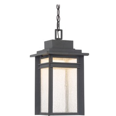 Seeded Glass LED Outdoor Hanging Light Black Quoizel Lighting