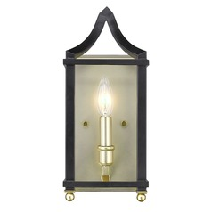Leighton SB Wall Sconce in Satin Brass with Black
