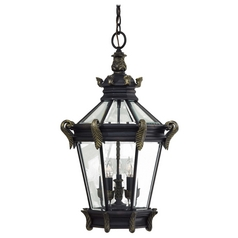 Outdoor Hanging Light with Clear Glass in Heritage W/gold Highlights Finish