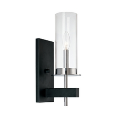 Modern Sconce Wall Light with Clear Glass in Chrome/Black Finish