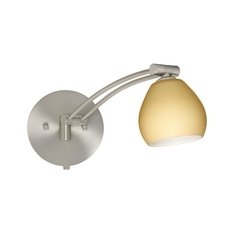 Modern Swing Arm Lamp with Beige / Cream Glass in Satin Nickel Finish