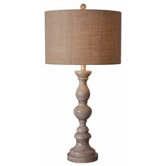 Modern Table Lamp with Brown Shade in Toasted Almond Finish