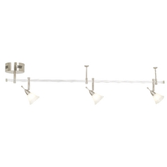 Design Classics Lighting Directional Rail Light Kit with White Art Glass - 4-Feet KIT 4 ICICLE ROCKET 4'