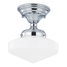 8-Inch Schoolhouse Ceiling Light in Chrome