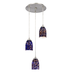 Design Classics Lighting Modern Multi-Light Pendant Light with Blue Glass and 3-Lights 583-09 GL1009D