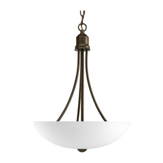 Progress Lighting Progress Pendant Light with White Glass in Antique Bronze Finish P3914-20EBWB