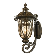 Outdoor Wall Light with Beige / Cream Glass in Hazelnut Bronze Finish