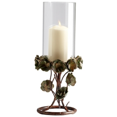 Cyan Design Leigh Green Rose Bronze Patina Candle Holder