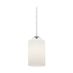 Modern Mini-Pendant Light with White Art Glass Cylinder Shade