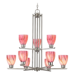 Modern Chandelier with Pink Glass in Satin Nickel Finish