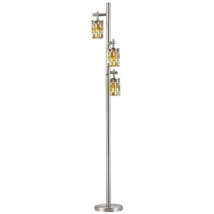 Satin Nickel SODO Floor Lamp with Tiffany Cylindrical Shade