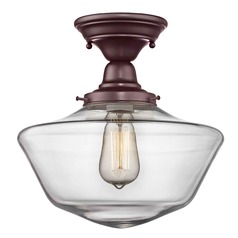 12-Inch Clear Glass Schoolhouse Semi-Flushmount Light In Bronze Finish