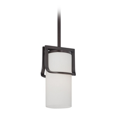 Mini-Pendant Light with White Glass in Russet Bronze Finish
