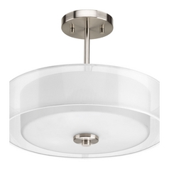 Semi-Flushmount Light with White Silk Mylar/Glass in Brushed Nickel