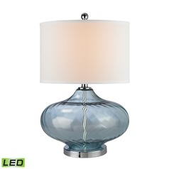 Dimond Lighting Translucent Light Green LED Table Lamp with Drum Shade