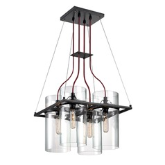 Sonneman Square Ring Satin Black 4 Light Pendant Light