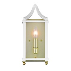 Leighton SB Wall Sconce in Satin Brass with White