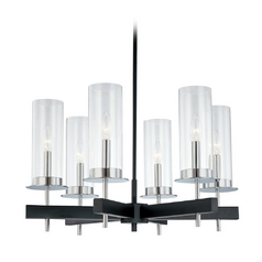 Modern Chandelier with Clear Glass in Chrome/Black Finish