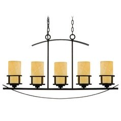 Linear Island Pendant Light in Dark Bronze Finish and Onyx Shades