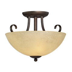 Rustic Two-Light Semi-Flushmount Ceiling Light
