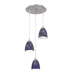 Design Classics Lighting Modern Multi-Light Pendant Light with Blue Glass and 3-Lights 583-09 GL1009MB