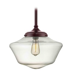 14-Inch Bronze Clear Glass Schoolhouse Pendant Light