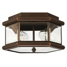 Close To Ceiling Light with Clear Glass in Copper Bronze Finish