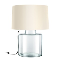 Sonneman Grasso Clear Glass W/ Black Silk 1 Light Table Lamp with Drum Shade