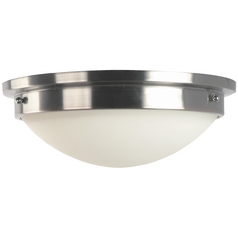 Modern Flushmount Light with White Glass in Brushed Steel/polished Nickel Finish