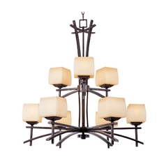 Chandelier with Beige / Cream Glass in Roasted Chestnut Finish