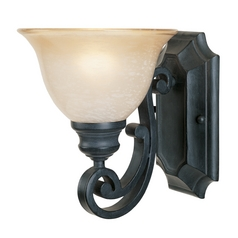 Sconce Wall Light with Beige / Cream Glass in Natural Iron Finish