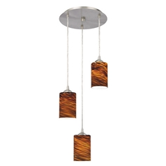 Modern Multi-Light Pendant Light with Brown Art Glass and 3-Lights