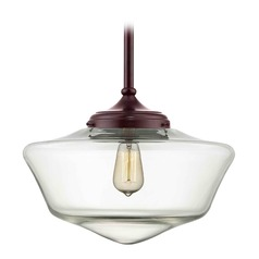 16-Inch Bronze Clear Glass Schoolhouse Pendant Light