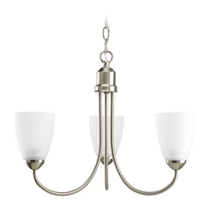 Progress Lighting Progress Chandelier with White Glass in Brushed Nickel Finish P4440-09EBWB