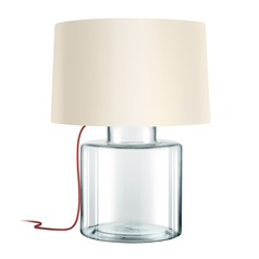 Sonneman Grasso Clear Glass W/ Red Silk 1 Light Table Lamp with Drum Shade