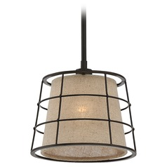 Quoizel Lighting Landings Mottled Cocoa Mini-Pendant Light with Empire Shade